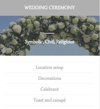 Ibiza wedding ceremony services list